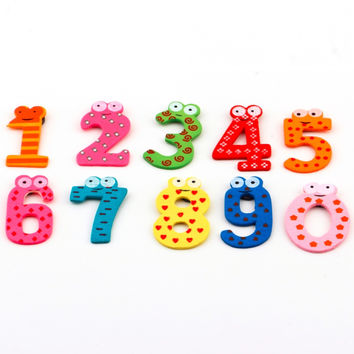 1set X mas Gift Set 10 Number Wooden Fridge Magnet Education Learn Cute Kid Baby Toy New Arrival