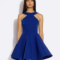 Halter Sleeveless Shirtwaist A-Line Mini Skater Dress