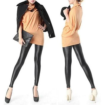 Women  Autumn Sexy Black Faux PU Leather Leggings Velvet Thick Warm Skinny Pencil Pants Slim Sexy Push Up Legging Skinny Trouser