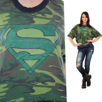 Camouflage shirt Army green Superman graphic t-shirt  XL