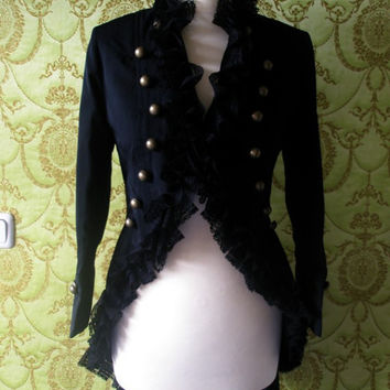 Alexander Mcqueen inspired Lace ruffle trim tailcoat - military style jacket