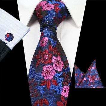 RBOCOTT New Designs Fashion Floral Ties 7cm Mens Tie Silk Jacquard Neck Ties Pocket Square Cufflinks Set For Wedding Party Suit
