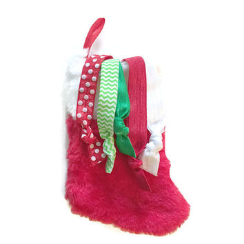 Baby's First Christmas Stocking - Infant Gift for Christmas - Christmas Stocking with Baby Headbands - Newborn Hairbands - Baby Shower Gift