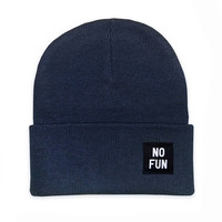 No Fun Labeled Beanie - Navy Blue