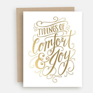 Tidings of Comfort and Joy Gold Foil - A2 Note Card