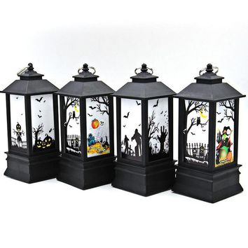 Creative Hanging Light Lantern Bats Pumpkin Printed Castle Flame Vintage Lantern Lamp for Home Bar School Halloween Decoration