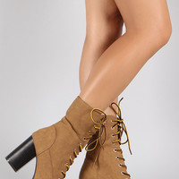 Qupid Faux Fur Cuff Lace Up Lug Sole Platform Heeled Combat Ankle Boots