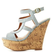Qupid Strappy Chambray Wedge Sandals