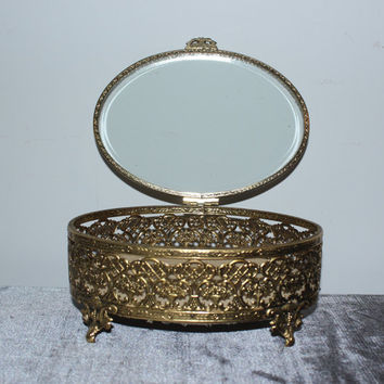 Vintage gold filigree and glass ornate jewelry box, jewelry storage, jewelry holder, gifts for her, vanity