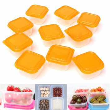 10Pcs Reusable Mini Plastic Food Storage Boxes Containers Set With Lids
