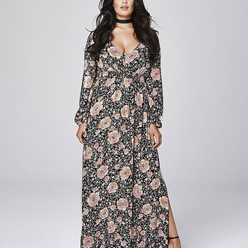 Crinkle Deep V Maxi Dress | SimplyBe US Site