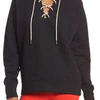Zella Lace-Up Pullover | Nordstrom