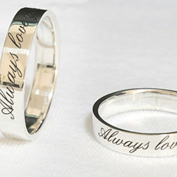 Personalized Ring .925 Sterling Silver Engraved Ring 4 mm width