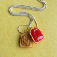 strawberry jam peanut butter and jelly friendship necklaces best friend necklaces bff polymer clay pb and j