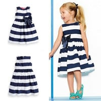 Baby Kid Girls Sleeveless One Piece Dress Blue Striped Bowknot Skirts Tutu Dress = 1945898052