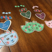 Kawaii Cat Valentine Die Cuts (Set of 9 cats, 3 hearts, 6 bows, and 12 paws)