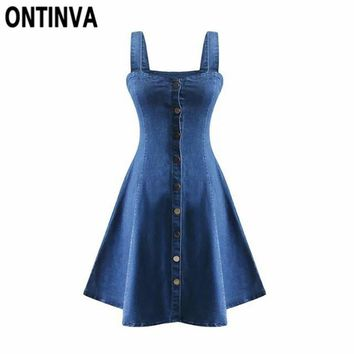 Summer Denim Dress Off Shoulder Suspender Jeans Dresses Woman Single Breasted One Piece Clothing Sexy Party wear Beachwear
