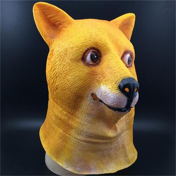 Hot Super Creepy Funny Head Doge 3D Latex Mask Cos