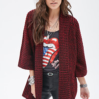 FOREVER 21 Marled Shawl Collar Cardigan Burgundy/Black