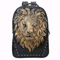 MapleClan Cool 3D Lion King Studded PU Backpack Golden