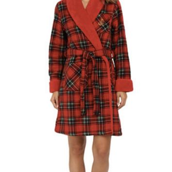 Lauren Ralph Lauren Bonded Sherpa Fleece Plaid Print Robe 8141134