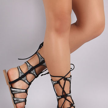 Beadwork Suede Strappy Lace Up Gladiator Flat Sandal