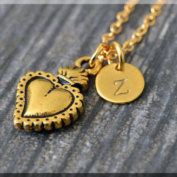 Gold Sacred Heart Charm Necklace, Initial Charm Necklace, Personalized, Heart Pendant, Holy Jewelry, Monogram Sacred Heart Necklace