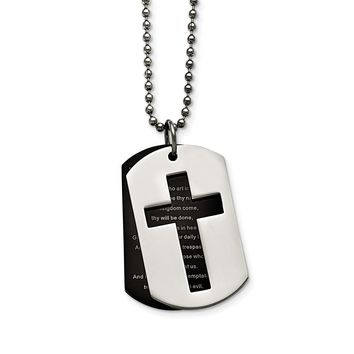 Stainless Steel Polished Black IP-plated Lord's Prayer Necklace 24in