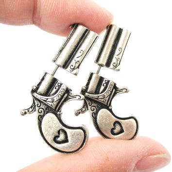 Fake Gauge Earrings: Double Pistol Gun Shaped Faux Plug Stud Earrings in Silver