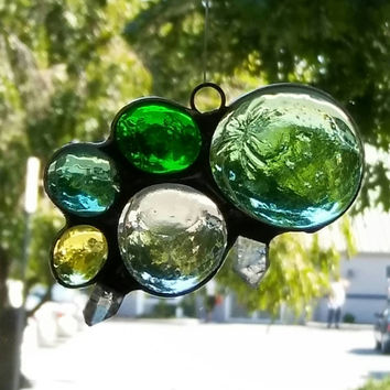Green and yellow bubble suncatcher with clear quartz crystal points, stained glass suncatchers, glass art,art & collectables,hip chick glass