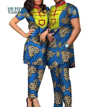Spring African Print Bazin Riche Top and Pants Sets for Couple