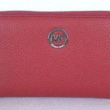 NWT Michael Kors Fulton Large Flat MF phone case Leather Red wristlet