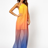 ASOS | ASOS Necklace Halter Rainbow Maxi Dress at ASOS