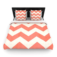 "Ann Barnes ""Vintage Coral"" Orange Chevron Fleece Duvet Cover"