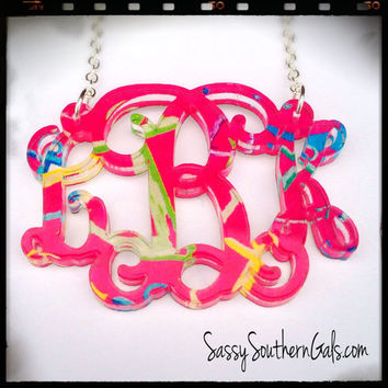 Monogrammed Necklace, Acrylic Monogrammed Necklace, Lilly Pulitzer inspired patterns, Lilly Pulitzer Monogram Necklace