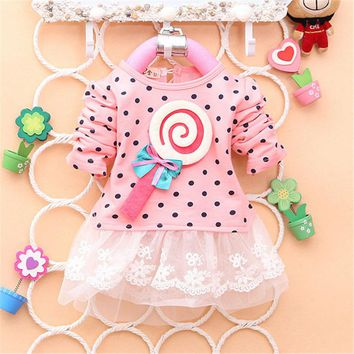 2017 Newest Autumn Spring Kids Sweater Greatly Lollipop Full Version Dot Girls T-shirt Stitching Baby Girls lace Dresses