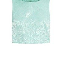 Madam Rage Mint Green Floral Jacquard Crop Top