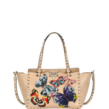 Valentino Rockstud Small Embroidered Tote Bag, Camel