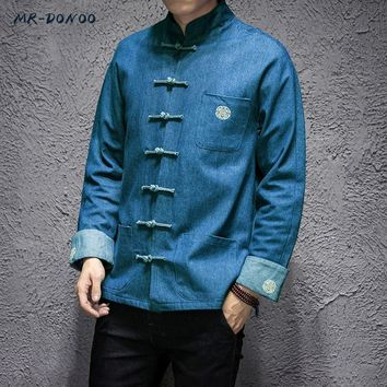 Trendy MRDONOO Male loose long sleeves retro buckle embroidered denim jacket young man fattening increase code tide AT_94_13