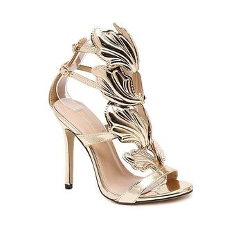 CSDM WOMEN Stiletto Heel Metal Wings High-Heeled Exposed Toe Sandals gold nude black