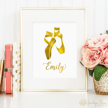 Personalized name & ballerina slippers wall art: printable for girls bedroom, faux gold foil ballerina art (Custom digital download - JPG)