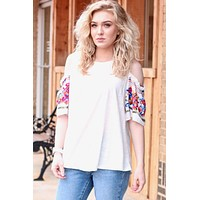 Kimber Open Shoulder Floral Embroidery Top {Off White} - Size SMALL