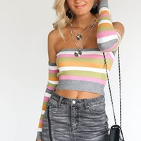 Come Closer Stripe Off Shoulder Crop Sweater Top