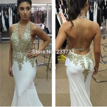 Sexy Chiffon Appliques Lace Beaded White Halter Backless Mermaid  Maroon Long Prom Dresses 2016 Robe De Bal Longue 51304