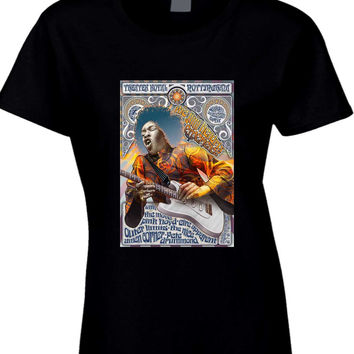 Jimi Hendrix And Pink Floyd Concert Poster Womens T Shirt