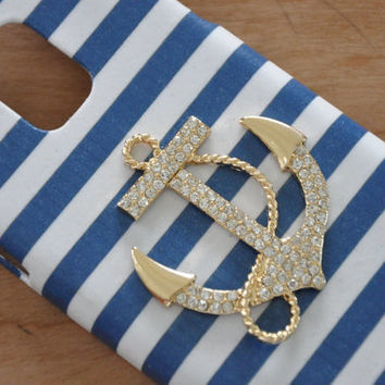 Blue white stripe gold plated beach nautical anchor Samsung Galaxy S4 S5 case iPhone 4/4s iPhone 5/5s iPhone 5c iPhone 6 case