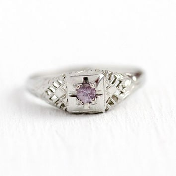 Fancy Sapphire Ring - Vintage Art Deco 18k White Gold Genuine Purple Pink Gem - Size 6 1/4 Alternative Engagement Filigree 30s Fine Jewelry