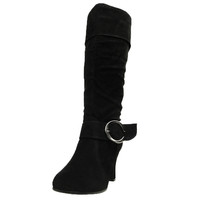 Womens Knee High Boots Folded Cuff Buckle Accent Side Zipper Closure Black SZ