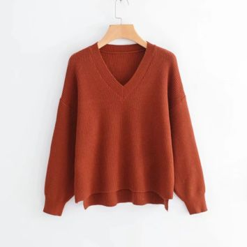 FREE SHIPPING Baggy front short back long V neck pullover long sleeve knit top