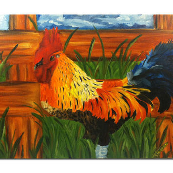 Original Rooster Oil Painting - Folk Art - Kitchen Decor - Affordable Art - Samiamart